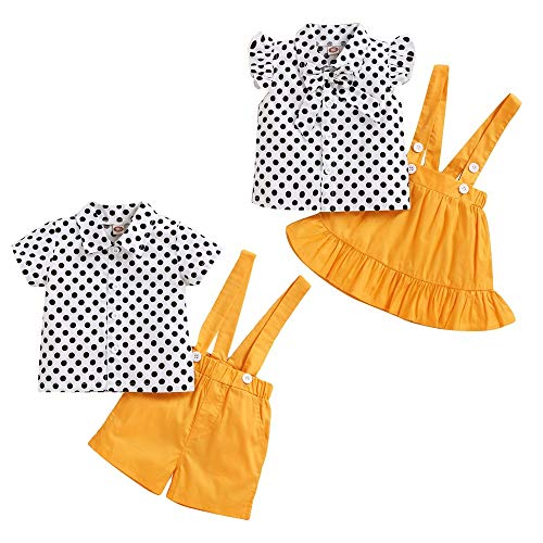 puseky Baby Bruder Und Schwester Passende Outfits Set Polka Dot Shirt Hosenträger Shorts Kleidung Anzug