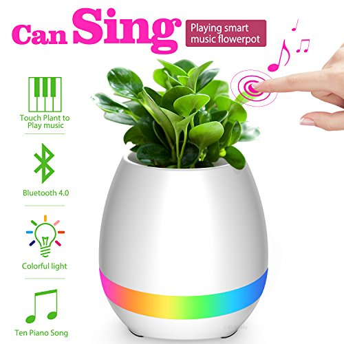 ELValley Bluetooth Speaker Smart Music Flower Pot Colorful LED Night Light Touch Plant Piano Music Playing Creative Wireless Speaker for Home Office(Without Plants) (White)