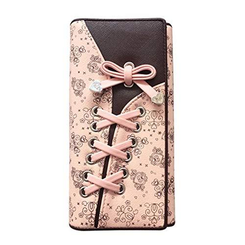 VICTOEJoker Damen Geldbörse mit Krawatte aus PU-Leder mit 3 faltbaren Schnallen und Langer Handtasche One Clour Einheitsgröße