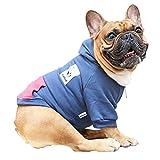 iChoue Pet Clothes Dog Hoodie Hooded Full-Zip Sweatshirt French Bulldog Frenchie Shiba Inu Cotton Winter Warm Coat Clothing - Navy/Size M