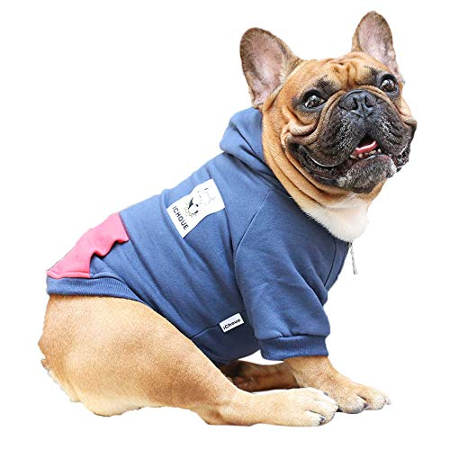 iChoue Pet Clothes Dog Hoodie Hooded Full-Zip Sweatshirt French Bulldog Frenchie Shiba Inu Cotton Winter Warm Coat Clothing - Navy/Size M