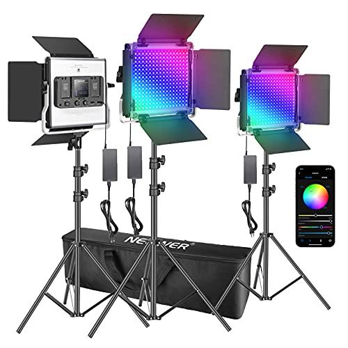 Neewer 3 Packs luz LED RGB 530 con Control App Kit Iluminación Video y Fotografía con Soportes y Bolsa 528 SMD LED CRI95 / 3200K-5600K / Brillo 0-100% / 0-360 Colores Ajustables