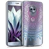 kwmobile Schutzhülle für Motorola Moto X4 - TPU Hülle Case Cover Etui Schutzhülle - Motiv Indische Sonne in Blau/Pink/Transparent