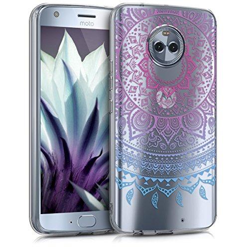 kwmobile Hülle kompatibel mit Motorola Moto X4 - Hülle Silikon transparent Indische Sonne Blau Pink Transparent