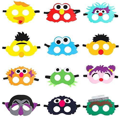 BeYumi 12Pcs Elmo Masken Cookie Monster Filz Maske Dress Up Kostüme Geburtstag Party gefälligkeiten Spielen Zubehör Foto Booth Requisiten Animation Cartoon Party liefert großen Vogel Ernie für Kinder