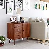 Blackzebra Aparador Escandinavo Cómoda Dormitorio Mueble Almacenamiento con Estante para Libros y Puerta de 3 cajones