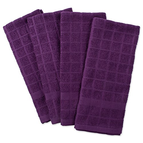 DII Cotton Terry Windowpane Dish Towels, 16 x 26 Set of 4, Machine Washable and Ultra Absorbent Kitchen Bar Towels-Solid Eggplant