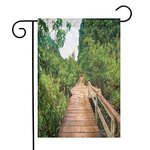 Eastlif Jardín Moderno Bandera Bosque Puente de Madera Alrededor del Bosque de manglar Thapom Krabi Tailandia Paisaje Natural Fácil de Instalar Marrón Claro Verde