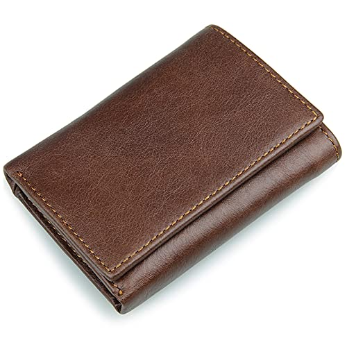 TTWLJJ Cartera Hombre,Porta Tarjetas de Crédito y Cartera - con Protección RFID Cartera de Viaje Corta Vintage Embrague,Marrón