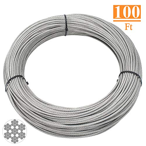 HELIFOUNER T316 Marin Grade 1/8 inch Stainless Steel Aircraft Wire Rope Cable for Railing, Decking, DIY Balustrade, 100 Feet