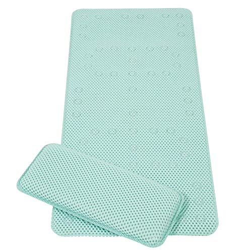 Clevamama ClevaMama Baby Bath Mat Non Slip - kids and Children Bathtub Mats Anti Mould with Suction Pads and Knelling Cushion - Turquoise, 91x43 cm