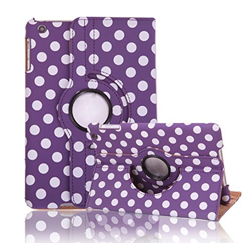 HDE iPad Mini iPad Mini 2/3 Cases and Covers [Auto Sleep/Wake] 360 Rotating Stand for iPad Mini 1/2/3 Retina (Purple & White Polka Dot)