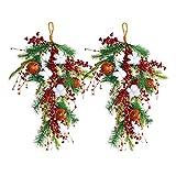 FNSAOM Swag de Navidad artificial de 27.6 pulgadas de lágrima de Navidad con aguja de pino de Navidad colgante con campana de algodón real árbol de Navidad artificial Swag