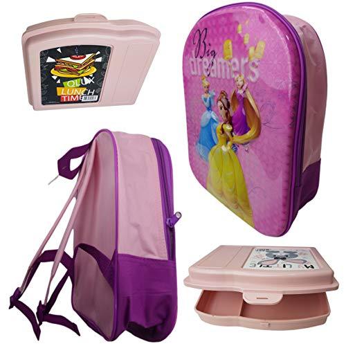 Bundel - Mochila infantil con diseño 3D de princesa y fiambrera, diseño de fiambrera