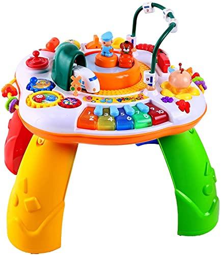 Ohuhu Musical Babyspielzeug, 42x41cm, Lerntisch Baby Spieltisch mit Simulationszug, Activity Table Musikspielzeug, Spielzeug Geschenk für Baby Kinder ab 1 Jahr, Mädchen, Junge