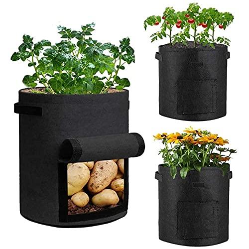 Huerto Urbano Paquete de 3 Bolsas de Cultivo de Patatas, Bolsas de Cultivo de 10 Galones, para el Cultivo de Tomate Grow Bag, Macetas de Tela de Tomate de Jardín Transpirable Bolsas para Jardineras co