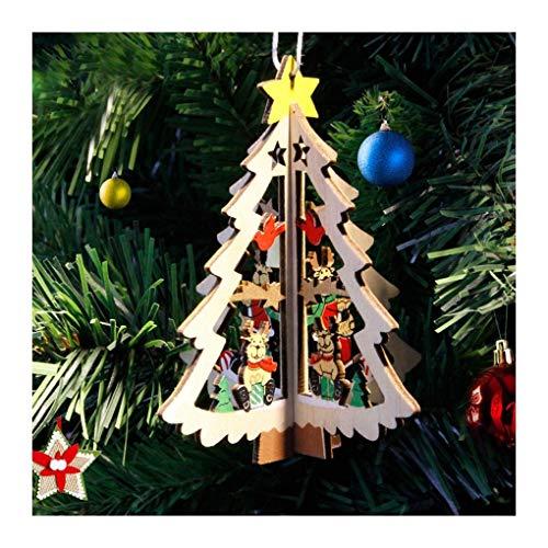 WUFANGFF 1Pc Carino Mini Albero di Natale con Ornamento 11Cm in Legno Piccolo per Il Fai da Te Decorazioni di Natale per I Bambini A Casa Natale Regalo Forniture