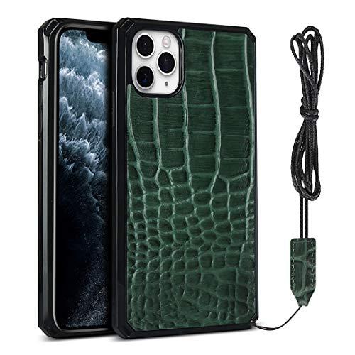 Krokodilmuster PU Handyhülle mit Trageband, Handyhülle für iPhone 11 Pro Max (6,5 Zoll) (dunkelgrün)
