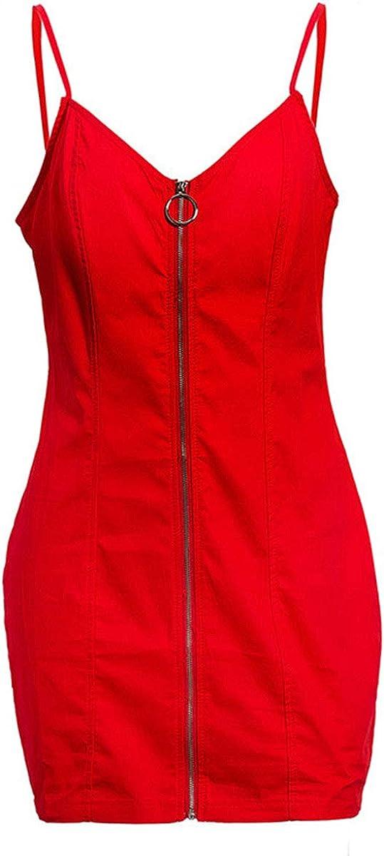 YMING Womens Sexy Bodycon Dress Zipper Front Dress Sling Skinny Club Dress