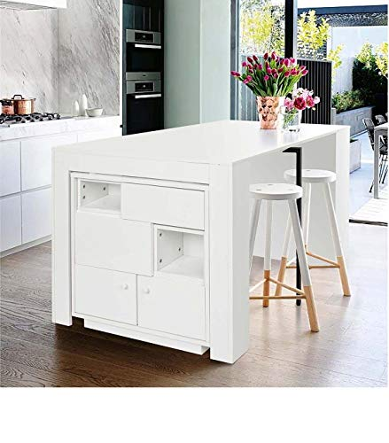 CozyCasa Expandable White Dining Room Table with Small Cabinet, Drop Leaf Tables for Small Spaces, High Gloss Dining Table with Drawer Storage, Conference Table for 6-8