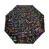 AOTISO La fórmula matemática Linda 3 pliega el Paraguas Cerrado Abierto automático, protección Ultravioleta del 99%