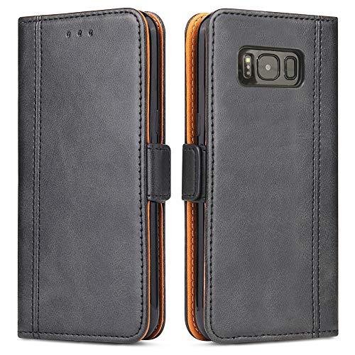 Samsung Galaxy S8 Hülle, Bozon Leder Tasche Handyhülle Flip Wallet Schutzhülle für Samsung Galaxy S8 mit Ständer & Kartenfächer/ Magnetic Closure (Dunkel-Grau)