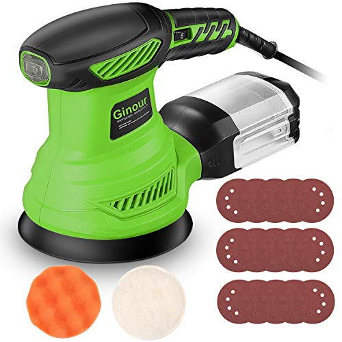 Random Orbit Sander, Ginour 5-Inch Sander Machine with 15Pcs Sandpapers, Sponge Disc and Wool Disc, 6 Variable Speed, Efficient Dust Collection System, Ideal for Sanding, Finishing, Polishing Wood
