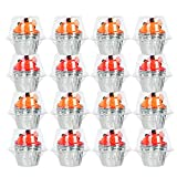 Vumdua Individual Cupcake Containers - 100 Packs Plastic Clear Cupcake Containers, Cake Cupcake Carrier Holder Boxes Dome Holders for Wedding Party, BPA-Free