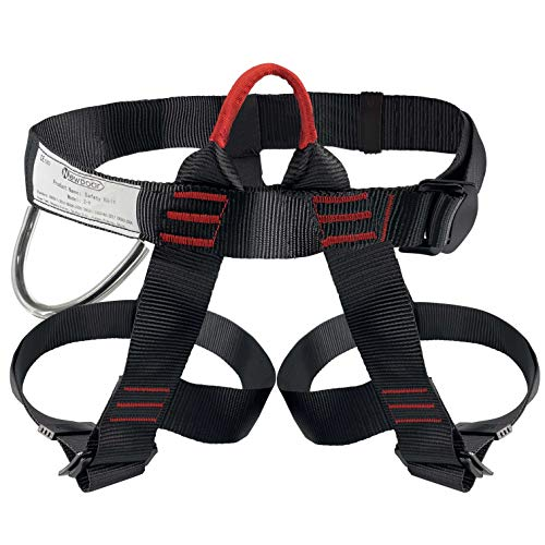 NewDoar Climbing Harness, Women Man Child Half Body Safe Seat Belts for Mountaineering Rock Climbing,Mountaineering Outward Band Fire Rescue,Expanding Training,Rappelling Gear (Black)