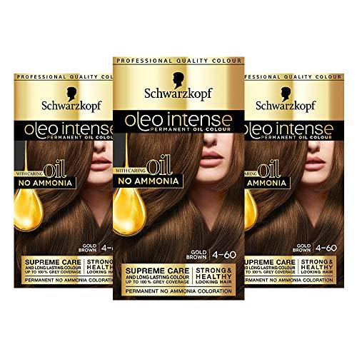 Schwarzkopf Oleo Intense Brown Haarfarbe, 3er Pack Permanente Ölfarbe, ohne Ammoniak, deckt Grau, Goldbraun 4-60