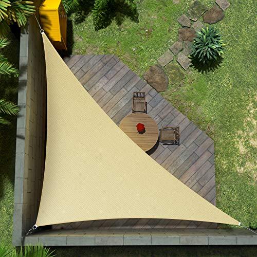 Amgo 14' x 14' x 19.8' Beige Triangle Sun Shade Sail Canopy Awning Shelter Fabric ATAPRT14 - UV Block UV Resistant Heavy Duty Commercial Grade - Outdoor Patio Carport - (Custom