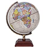Waypoint Geographic Atlantic Illuminated 12' Globe with Stand - Over 4, 000 Up-To-Date points of Interest - Wood 3-Step Style Stand & Politically Styled World Globe for Home, Office & Classroom