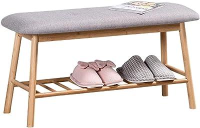 bequeme Sitzbank Relaxdays Schuhbank Bambus f/ür 2 Personen Polsterbank mit Schuhablage f/ür 4 Paar Schuhe natur-grau