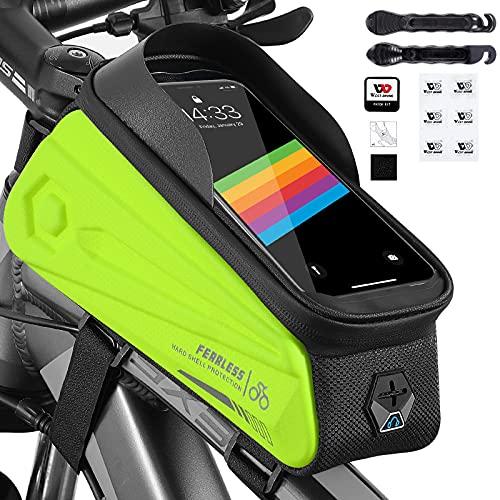 XIQI Fahrrad Rahmentasche mit Handyhalterung, Fahrradtasche Rahmen Wasserdicht mit Regenhülle Reifenpatch Reifenhebel, Fahrrad Oberrohrtasche Geeignet für Smartphones unter 7 Zoll mit TPU Touchscreen