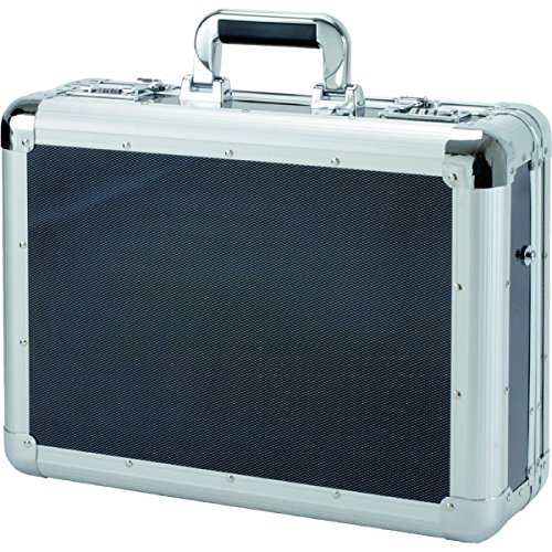 Alumaxx laptop-satellietkoffer C-1, van aluminium, ca. 45,5 x 35 x 15,5 cm, in carbon-look laptop-rolkoffer, 12.16 L, zilver-carbon