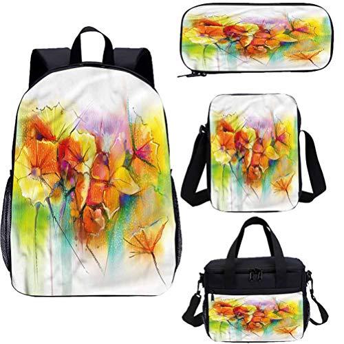 Zaino da 38,1 cm con borsa per il pranzo, set di astuccio, bouquet di fiori autunnali 4 in 1 zaino