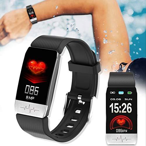 Zerkosvort [Deutschland Lager] T1 Fitness Tracker mit EKG, Bluetooth 4.2, Körpertemperaturmessung, Herzfrequenz-Schlafmonitor, Schrittzähler, Blutdruck, Alarm, Timer für Männer und Frauen