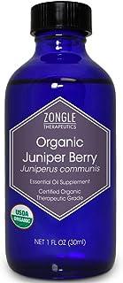Zongle USDA Certified Organic Juniper Berry Essential Oil, Bulgaria, Safe To Ingest, Juniperus Communis, 1 OZ
