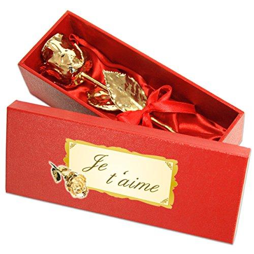 Echte Goldene Rose mit Widmung: Je t\'aime, überzogen mit 999er GOLD, circa 28 cm, mit Geschenkschatulle und Echtheitszertifikat