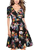 oxiuly Women's Criss-Cross Necklines V-Neck 1/2 Sleeve Floral Casual Work Party Stretch Swing Fall Dress OX233 (L, Black F5)