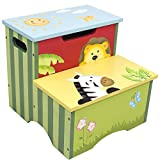 Fantasy Fields - Sunny Safari Animals Thematic Kids Sturdy Wooden Step Stool with Storage - Imagination Inspiring Hand Crafted & Carefully Packaged Unique Hand Painted Details Non-Toxic, Nursery Step Stools, Blue