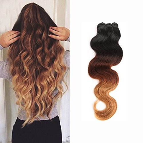 "100% Virgin Brazilian Hair Extensions Grade 7A Quality 16-24inch Weave Weft Thick Body Wave Hairs 100g 22"" / 22 inch, Ombre Colour (Natural Black+Light Auburn+ Honey Blonde)"