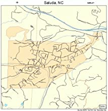 Large Street & Road Map of Saluda, North Carolina NC - Printed poster size wall atlas of your home town