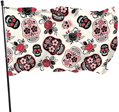 AOOEDM flag Garden flagDia De Los Muertos Skull Flower Halloween Pink Themed Welcome Party Outdoor Outside Decorations Ornament Picks Home House Garden Yard Decor 3 X 5 Ft Small Flag