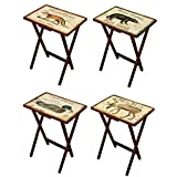 Cape Craftsmen Shore Birds TV Trays with Stand, Set of 4