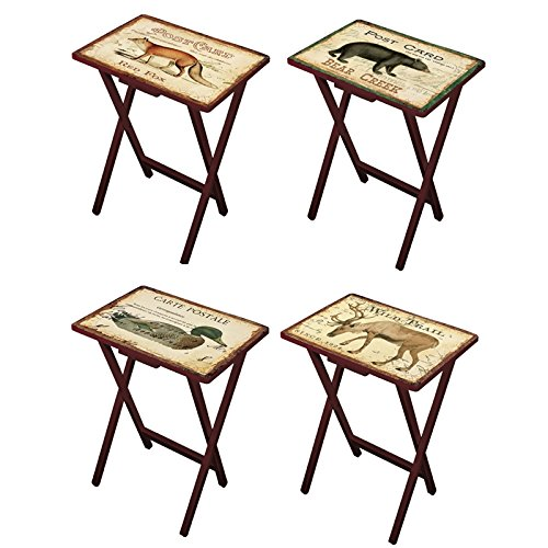"Cape Craftsmen Lodge Postcards Wooden Folding TV Tray Set with Stand, Set of 4 - Tray: 19.5"" W x 14.5"" D x 25.5"" H. Stand: 19"" W x 14"" D x 32"" H"
