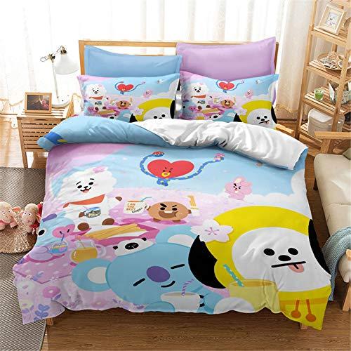 Goplnma -Line Friends BT21 Ropa de cama Bangtan Boys BTS funda de almohada BT21, A.R.M.Y funda nórdica 3D estilo coreano impresión medioambiental, microfibra, multicolor (135 x 200 cm, 9)