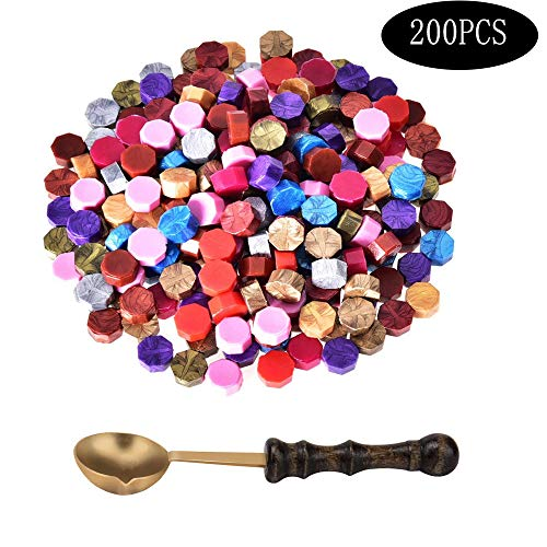 100 Stücke Siegellack Perlen,Wachs Siegel Set,1 Stück Wachs Schmelzen für Löffel,für Einladungen,Hochzeitseinladung, Umschlag Postkarte