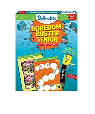 Skillmatics Educational Game: Boredom Buster Senior (6-9 Years) | Erasable and Reusable Activity Mats | Travel Friendly Toy with Dry Erase Marker | Fun Learning Game for Boys and Girls