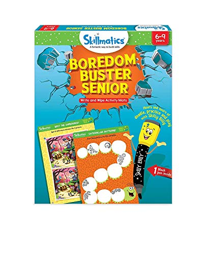 Skillmatics Educational Game: Boredom Buster Senior (6-9 Years), Erasable and Reusable Activity Mats, Travel Friendly Toy with Dry Erase Marker, Fun Learning Game for Boy...